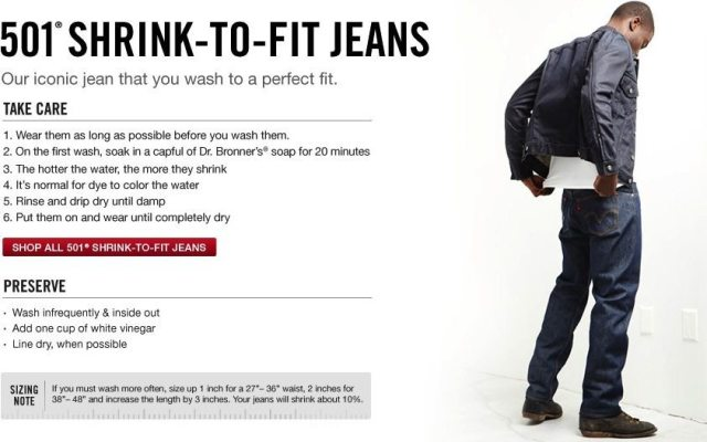 how to shrink to fit levis 501 jeans