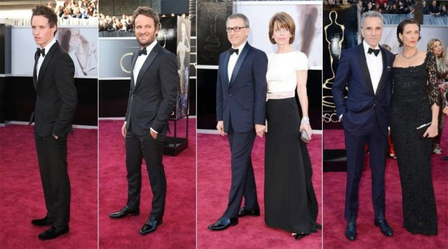 From left to right: Eddie Redmayne, Jason Clarke, Christoph Waltz (with Judith Holste) and Daniel Day Lewis (with Rebecca Miller). Photos by Jason Merritt, Copyright © 2013 Getty Images.