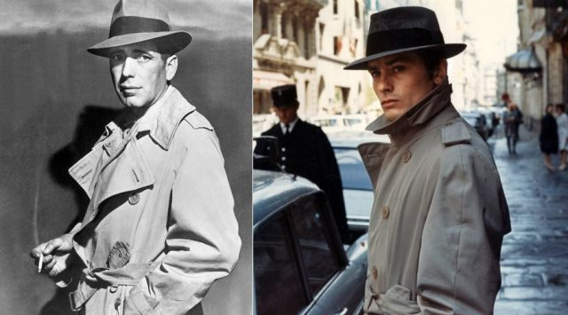 Trench Coat Icons: publicity still of Humphrey Bogart from Casablanca (1942); Alain Delon in Le Samourai (1967). Click to enlarge.