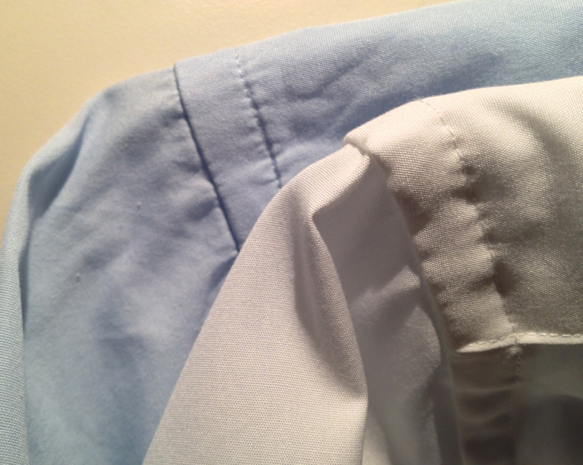 The blue is regular cotton the white