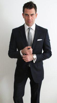 Full dress kit, with white shirt and black, white mini-houndstooth silk tie, white hanky.