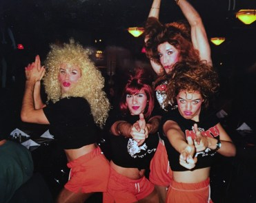 The manager of Film Center Cafe wouldn't give us the night off for Halloween in 1998, so we decided to turn the place into Hooters. (I'm the natural blond on the left.)