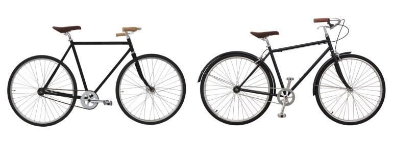 """The frame on the left is a classic diamond frame that I prefer. On the right is the """"sportier"""" men's frame design that has grown popular as of late, with the top bar at an angle."""