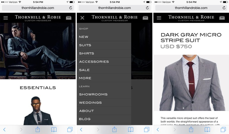 Rebranded mobile: home page, menu rollout, suit page.