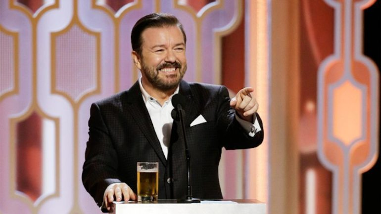73rd ANNUAL GOLDEN GLOBE AWARDS -- Pictured: Ricky Gervais, Host at the 73rd Annual Golden Globe Awards held at the Beverly Hilton Hotel on January 10, 2016 -- (Photo by: Paul Drinkwater/NBC)