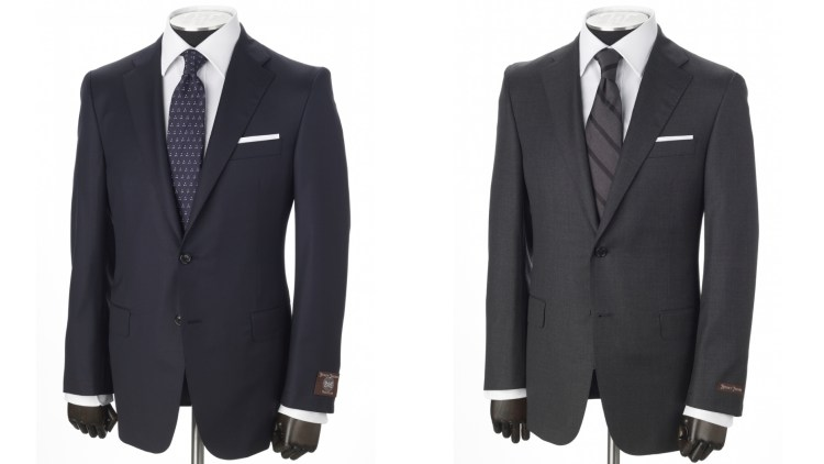 A navy and a charcoal from Hickey Freeman's Traveler Collection.