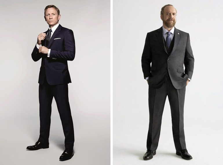 Daniel Craig, left, in a publicity photo for SPECTRE (MGM); Paul Giamatti for Billions on Showtime. Giamatti is a man with a distinctly less chiseled physique than Mr. Craig, but he's benefitted remarkably by sharp tailoring, courtesy of Martin Greenfield Tailors in Brooklyn.