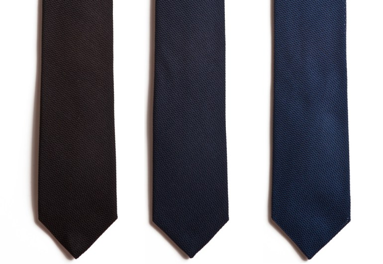 Italian grenadine ties in black, navy and blue from Chipp.