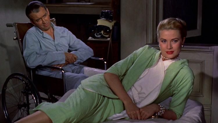 """James Stewart as 'Jeff' and Grace Kelly as Lisa in """"Rear Window"""" (1954)"""