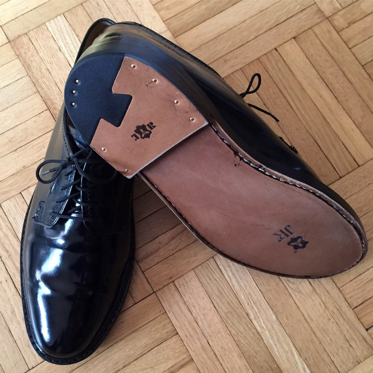 A fresh re-soling of my plain black Florsheim Kenmoor Imperials.