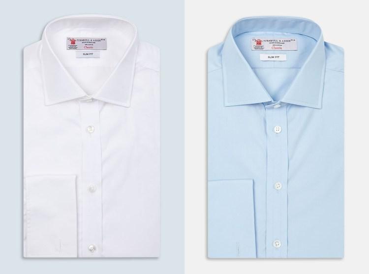 Turnbull & Asser: white and blue poplin ($335 each)
