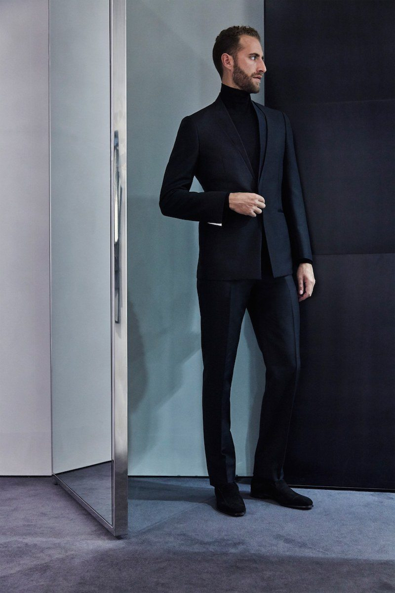A short, space-age remix of the suit from Kilgour, FW2016