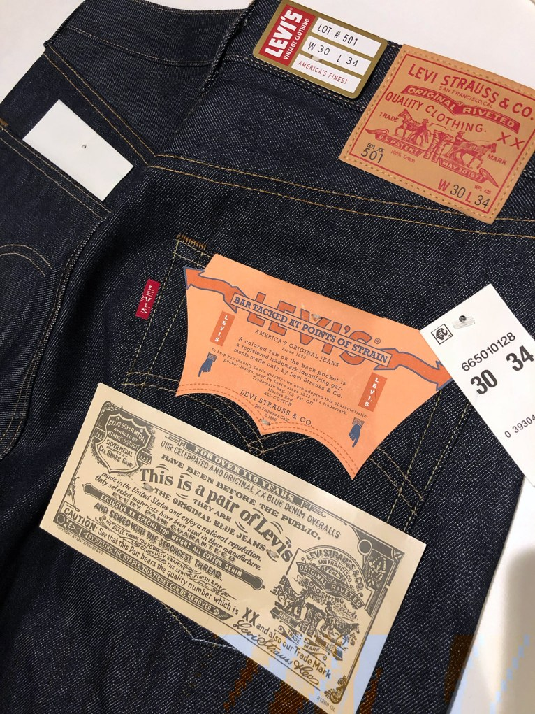 Levi's Vintage 1966 501® Jeans, upon arrival. With the Vintage collection, all the tag items are attached with thread as opposed to plastic.
