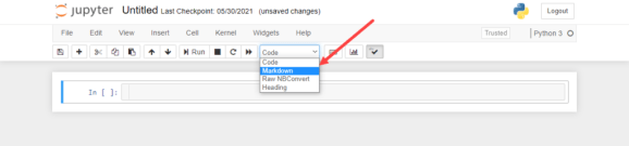 Choose Markdown from menu Jupyter cells