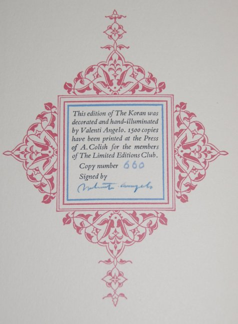Colophon - This is copy 660 of 1500 and features Angelo's signature.