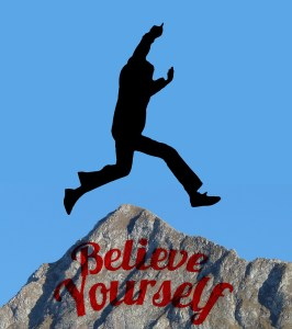 Image of a man jumping over an obstacle. Believe in yourself. Gain confidence as you take action towards your goals.