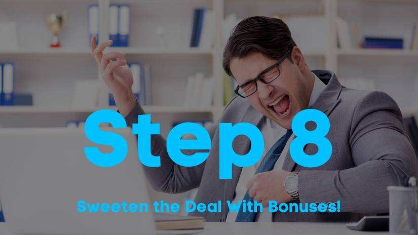 A blog image of a man with glasses, wearing a suit, playing air guitar. Step 8. Sweeten the deal with bonuses.
