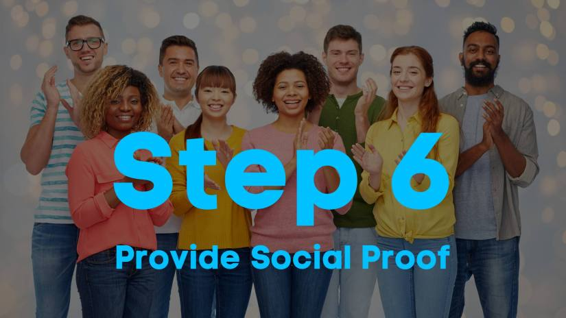 A blog image of a diverse group of people standing and clapping. Step 6. Provide social proof.