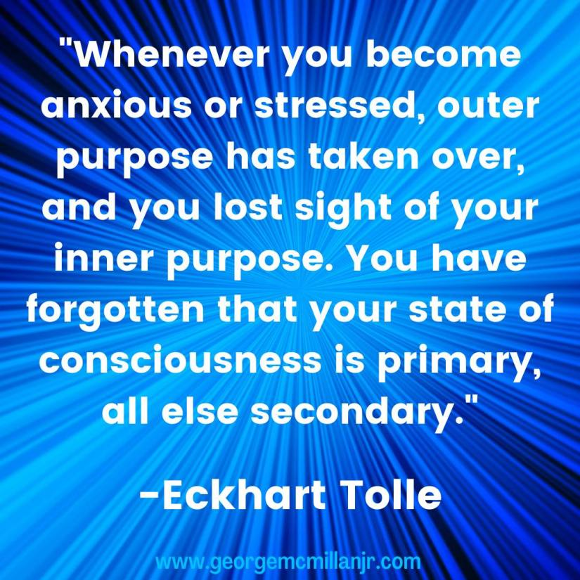 A blue social media image with an Eckhart Tolle quote about inner purpose.