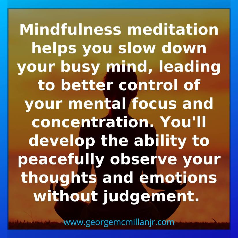 A social media picture of the silhouette of someone meditating, with a quote about mindfulness and peacefully observing your thoughts ans emotions without judgement.