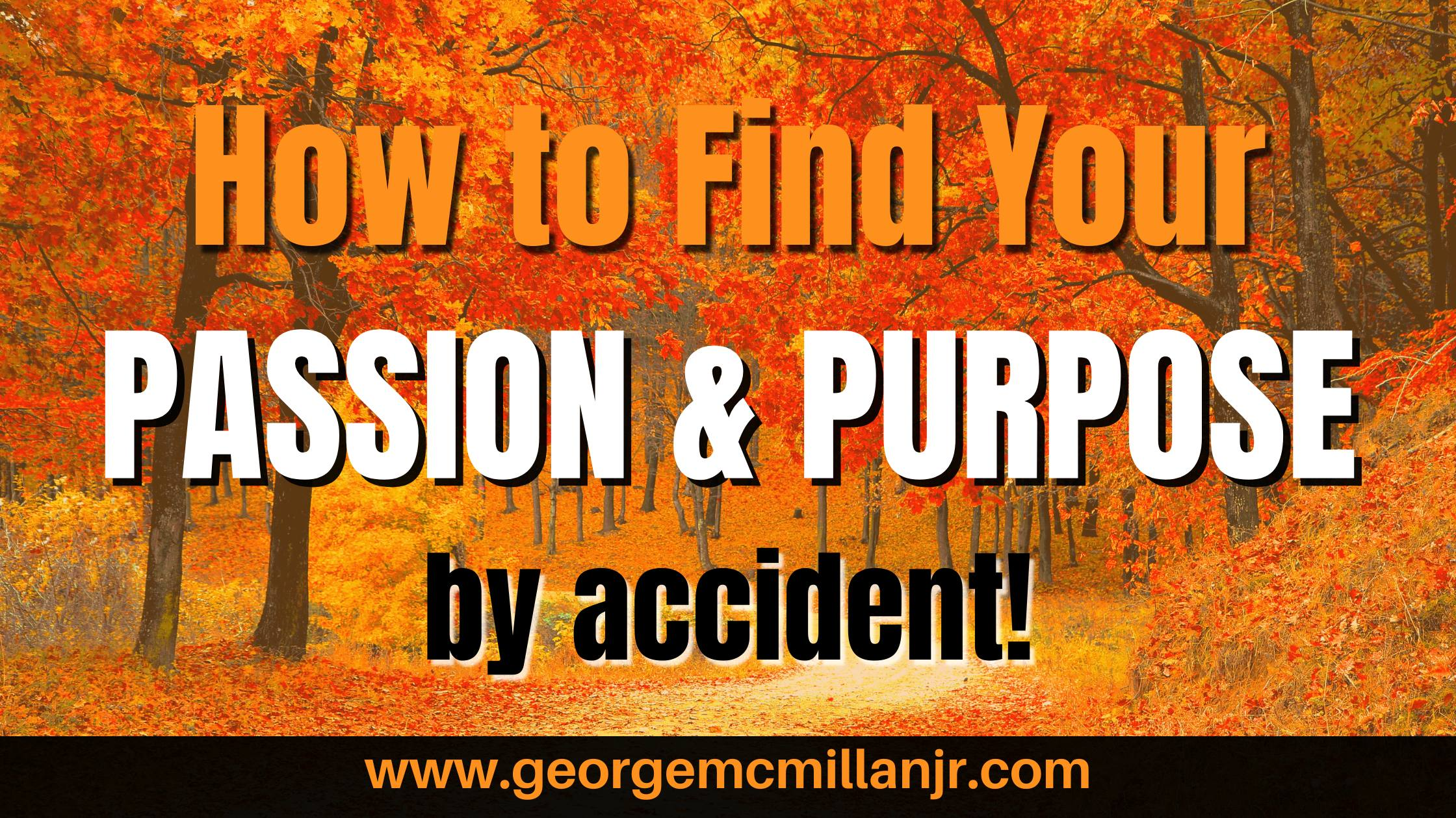A black, white, and orange fall banner image for a blog post titled, How to Find Your Passion and Purpose ... by accident!