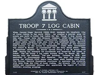 Troop 7 Log Cabin Historic Marker