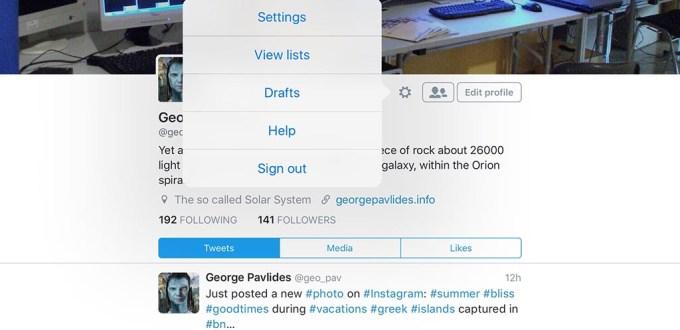 twitter settings menu