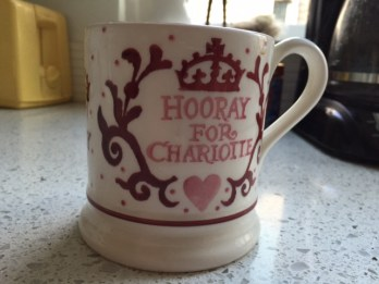 A recent gift from a friend. Charlotte shares the same name as the daughter recently born to Britain's royal couple, William and Kate.