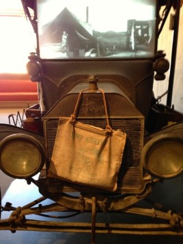 An elderly museum visitor said her job as a little girl was to fill the canvas bag that hung off the radiator to keep the engine cool.