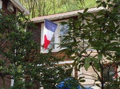 The familiar colors of the French flag.