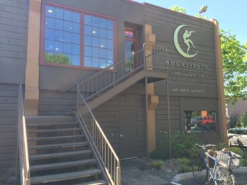 Moonstruck Chocolate Co. operates out of a building in a warehouse district just north of Cathedral Park.