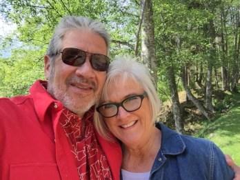 George and Lori take a break during a walk around Eagle Lake.