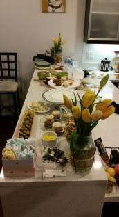 Sweet and savory snacks plus yellow tulips. Beautiful.