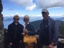 Deb, Lori and Bob at Mount Constitution, a must-see attraction within Moran State Park.