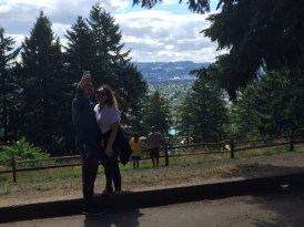 One of many couples taking selfies at Mount Tabor's 636-foot summit.