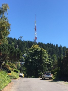 The Stonehenge radio tower, 607 feet tall and built in 1990 by rock station KGON-FM.
