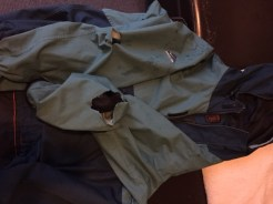 Fabric on both sleeves was torn away during the attack.