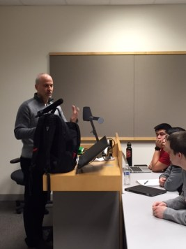 National Public Radio sports correspondent Tom Goldman displayed some tools of the trade during a class visit.