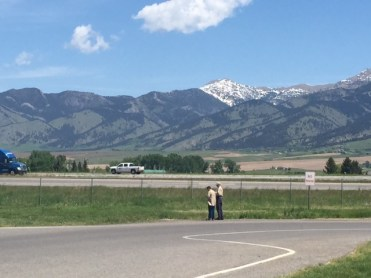 Mountain snow persists into late spring outside Bozeman, Montana.