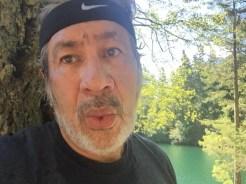 Exhaling after an exhilarating 4-mile run around Mountain Lake.