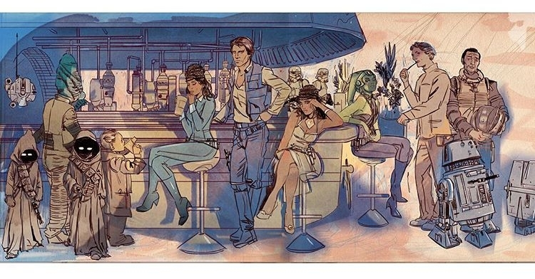 The technique somehow works nicely. regram @tulalotay My Almost full Cantina piece for the Gallery Nucleus Star Wars show. It's too but to fit on the screen! #movies #starwars #video  #movie #film #films #videos #actor #actress #cinema #dvd #amc #instamovies #star #moviestar #photooftheday #hollywood #goodmovie #instagood #flick #flicks #art #hansolo #droids #jawas