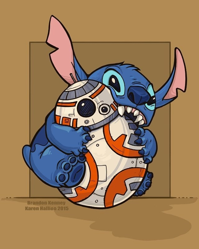 Omnomnom. regram @1upbox Cute, rollable, and disney! Stitch should make a cameo appearance in the next Star Wars.  #1UpBox #Transform #starwars #bb8 #liloandstitch #stitch #episodevii #theforceawakens #disney #cute #art