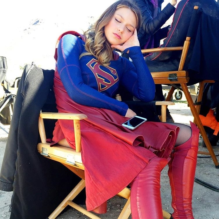 An overworked Supergirl. Get her out of the shade so she can recharge on sunshine and unicorns. regram @aliadler Everybody wake up! Half an hour until an all new #SUPERGIRL #supgirl @melissabenoist hardest working woman in the galaxy.  @supergirlcbs #movies #comicbooks #dc #movie #film #tvseries #videos #actor #actress #tvshow #dvd  #instamovies #star #moviestar #photooftheday #hollywood #goodmovie #instagood #supergirlsdontcry #melissabenoist