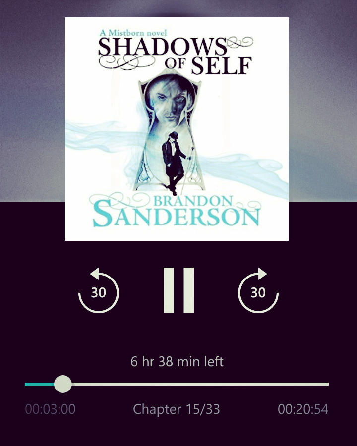 Listening to Shadows of self, by Brandon Sanderson. #books #book #read #brandonsanderson #reading #reader #page #pages  #instagood #kindle #nook #library #author #bestoftheday #bookworm #readinglist #love #photooftheday #imagine #plot #climax #story #literature #literate #stories #words #mistborntrilogy  #mistborn