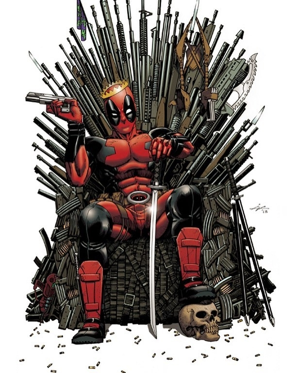 """regram @comiccrazefeed Who's ready for """"Game Of Thrones"""" tomorrow night? Is it just me, or would Deadpool love hanging out with Tyrion? #gameofthrones #marvelcomics #deadpool ART BY IAN NAVARRO #movies #video  #movie #film #films #videos #actor #actress #cinema #dvd #amc #instamovies #star #moviestar #photooftheday #hollywood #goodmovie #instagood #flick"""