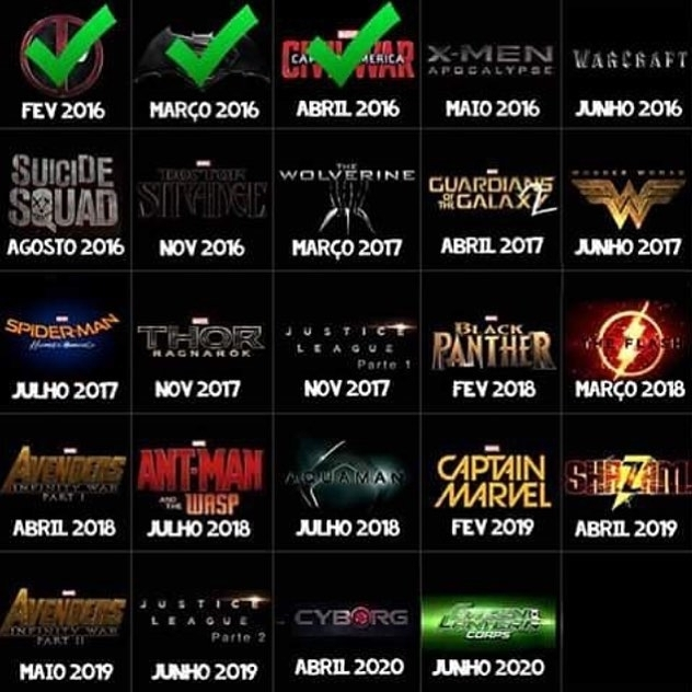 Green Lantern corps. Ryan Reynolds will be in it. 😈 Also, Avengers part one and two? Fuck you Marvel. regram @superhero.multiverse These movies blew by. Now we move on to the other movies in the current line up! Yay Goodnight #superheromovielineup #movielineup #MCU #DCEU #DCU #Marvel #marvelmovies #DC #DCmovies #Superheroes #Superheromovies #movies #theaters #DrStrange #Calendar  #movie #film #films #videos #actor #actress #cinema  #instamovies #star #moviestar #photooftheday #hollywood #goodmovie