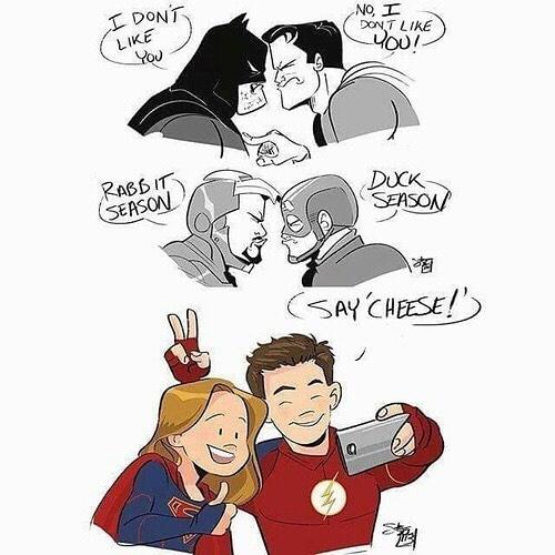 Like it should be. Friendly and stuff. regram @fandomgirlll_ #superman #batman #clarkkent #kalel #henrycavill #benaffleck #ironman #captainamerica #steverogers #tonystark #ciwilwar #theflash #supergirl #grantgustin #melissabenoist #karazorel #barryallen #zoom #jaygarick #marvel #dccomics @benaffleck @henrycavill @melissabenoist @grantgust
