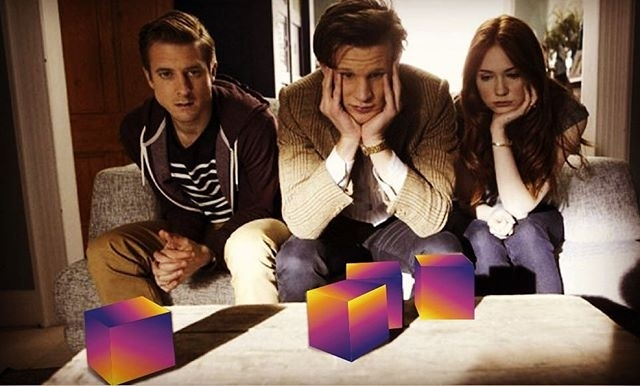 It's not doing anything! regram @doctorwhovians These three don't seem pleased with Instagram's new logo. Thoughts on the change? 💁  #doctorwho #whovians #thepowerofthree #instagram #eleventhdoctor #amypond #rorywilliams