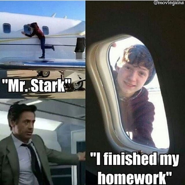 Goddamn teenagers… regram @wandamaximoff44_fusion Thats funny😂✌ Happy birthday Tom💜 Creddit to @moviegainz #peterparker #tomholland #robertdowneyjr #ironman #captainamericacivilwar #tonystark #spiderman