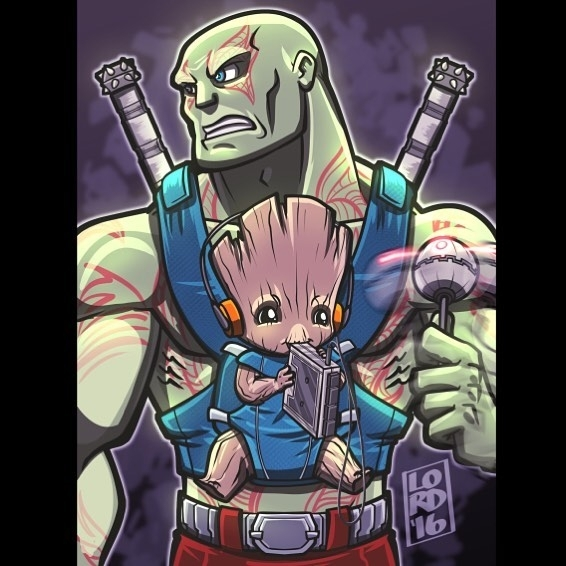 "Baby Groot. Na, na nanana, nana na na na na. Ta da dada dada da. regram @lord_mesa ""Drax the Sitter"" Inspired by James Gunn's concept art reveal last week! I thought the image of little Groot on Drax's shoulder would have a humorous story behind it thus my take on it with this illo! @davebautista @jamesgunn @vindiesel #drax #groot #guardiansofthegalaxy #davebautista #vindeisel  #clipstudiopaintpro #lordmesaart"